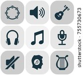 audio icons set. includes icons ... | Shutterstock .eps vector #755730673