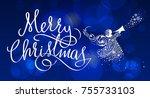christmas angel winter   Shutterstock . vector #755733103
