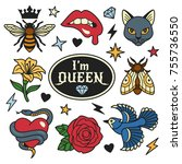 fashion patches collection.... | Shutterstock .eps vector #755736550