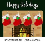 stockings hanging on the... | Shutterstock .eps vector #755736988