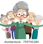 senior people group making... | Shutterstock .eps vector #755742184