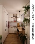 small white kitchen  red... | Shutterstock . vector #755742220