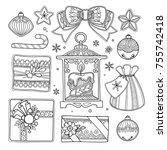 vector set christmas  new year... | Shutterstock .eps vector #755742418