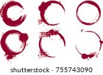 wine stains. wine ring. wine... | Shutterstock .eps vector #755743090