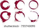 wine stains. wine ring. wine... | Shutterstock .eps vector #755743090