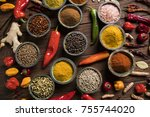 spices and herbs in wooden... | Shutterstock . vector #755744020