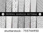 collection of swatches memphis... | Shutterstock .eps vector #755744950