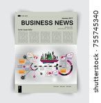 business magazine layout | Shutterstock .eps vector #755745340