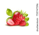 satawberries isolated on white... | Shutterstock .eps vector #755747596