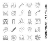 firefighting linear icons set.... | Shutterstock .eps vector #755748688