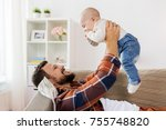 family  parenthood and people... | Shutterstock . vector #755748820
