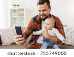 family  parenthood and people... | Shutterstock . vector #755749000