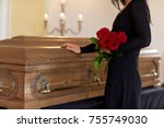 burial  people and mourning... | Shutterstock . vector #755749030