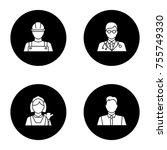 professions glyph icons set.... | Shutterstock .eps vector #755749330