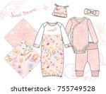 newborn baby girl fashion... | Shutterstock .eps vector #755749528