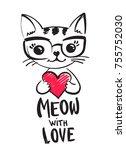 kitty illustration on white... | Shutterstock .eps vector #755752030