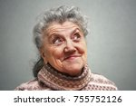 emotional elderly woman face on ... | Shutterstock . vector #755752126