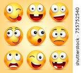 smiley emoticons set. yellow... | Shutterstock .eps vector #755752540