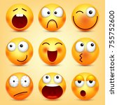 smiley emoticons set. yellow... | Shutterstock .eps vector #755752600