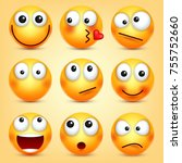 smiley emoticons set. yellow... | Shutterstock .eps vector #755752660
