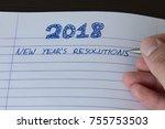 hand writing 2018 new year's... | Shutterstock . vector #755753503