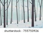 winter forest landscape. vector ... | Shutterstock .eps vector #755753926