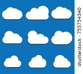 set of cloud icons in trendy...