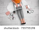 woman using laptop at home | Shutterstock . vector #755755198