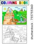 kids coloring cartoon knightly...   Shutterstock . vector #755755360