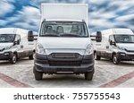 transport truck and minivans... | Shutterstock . vector #755755543