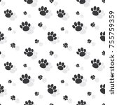 animal paw print seamless... | Shutterstock .eps vector #755759359