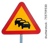 Small photo of Tailback traffic warning sign isolated on white