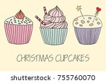 vector cupcake illustration.... | Shutterstock .eps vector #755760070