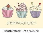 vector cupcake illustration.... | Shutterstock .eps vector #755760070
