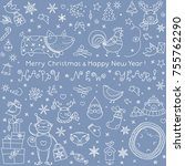 christmas doodle icons set.... | Shutterstock .eps vector #755762290