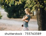 beautiful young girl with long... | Shutterstock . vector #755763589