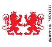 royal lion heraldry heraldic ... | Shutterstock .eps vector #755765554