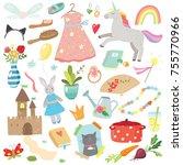 hand drawn girls doodles | Shutterstock .eps vector #755770966