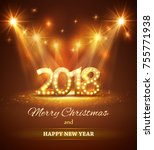 2018 happy new year greeting... | Shutterstock .eps vector #755771938
