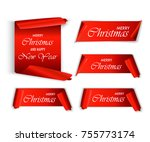 merry christmas  red realistic  ... | Shutterstock .eps vector #755773174