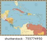 vintage color map of the... | Shutterstock .eps vector #755774950