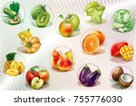 colorful rings with fruits and... | Shutterstock .eps vector #755776030
