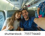 happy couple on trip ready to... | Shutterstock . vector #755776660