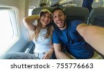 happy couple on trip ready to... | Shutterstock . vector #755776663