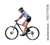 woman riding mountain bike  low ... | Shutterstock .eps vector #755777578