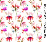 seamless pattern with garden... | Shutterstock . vector #755784898