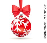 red christmas ball with  bow... | Shutterstock .eps vector #755784919