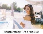 portrait of elegant charming... | Shutterstock . vector #755785810