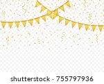golden flags with confetti and... | Shutterstock .eps vector #755797936