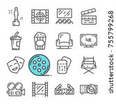 vector black line cinema icons... | Shutterstock .eps vector #755799268